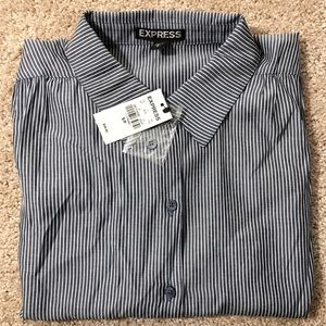 NWT Express Blue and white pin stripe blouse